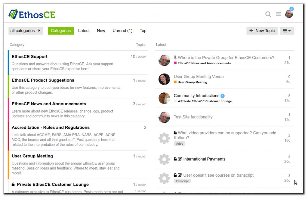 Screenshot of the EthosCE Community