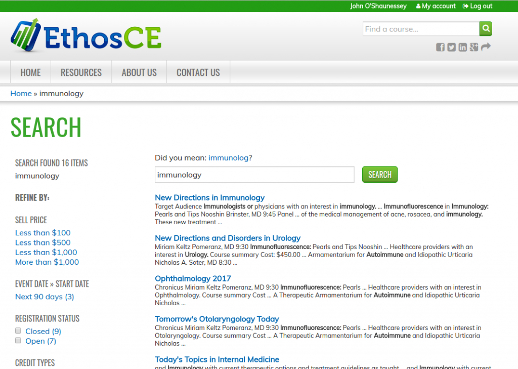 Screenshot of EthosCE search results interface.